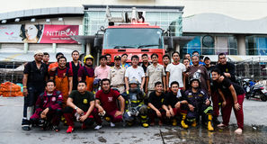 Group of fireman portrait after fire hydrant of Robinson Srirac royalty free stock photos