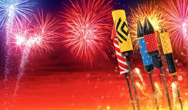 Group of fireworks rockets launching into the sky Stock Photos
