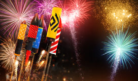 Group of fireworks rockets launching into the sky Royalty Free Stock Images