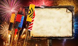 Group of fireworks rockets launchingwith wooden board Stock Images