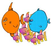 Group Of Fish. This illustration depicts a group of colorful fish Royalty Free Stock Photos