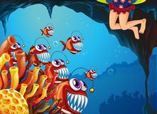 A group of fish watching the young girl. Illustration of a group of fish watching the young girl Stock Photos