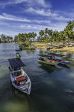 Group of fisherman boat anchored Stock Photos