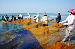 Group of fisherman pull fish net Stock Image