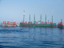 Group of fishermen encircling the trap with nets Stock Image