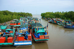 Group fishing boat, Vietnam port Royalty Free Stock Images