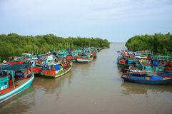 Group fishing boat, Vietnam port Stock Photography