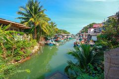 Group of fishing boats docked at the Port of river in fisherman. Village Royalty Free Stock Photos