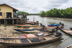 Group of fishing boats. In mangrove forest Stock Photography