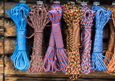 Group of fishing and climbing ropes and knots and loops Stock Photography