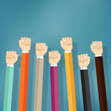 Group of fists raised in air. Royalty Free Stock Photography