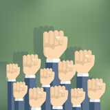 Group of fists raised in air. Stock Images