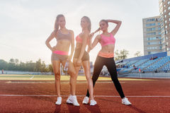 Group of fit young sportswomen standing on athletics stadium and posing. Royalty Free Stock Photos