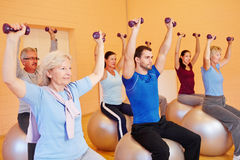 Group in fitness center doing. Dumbbell training sitting on gym balls Royalty Free Stock Photo