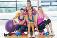 Group of fitness class at a bright exercise room Stock Images