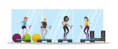 Group fitness class. Beautiful women training together in the gym with differnet equipment such as dumbbells and steps. Healthy lifestyle. Isolated vector flat royalty free illustration