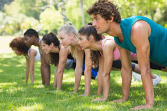 Group of fitness people doing push ups in park stock images
