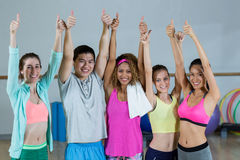 Group of fitness team showing thumbs up Royalty Free Stock Photography