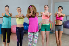 Group of fitness team showing thumbs up Stock Photos