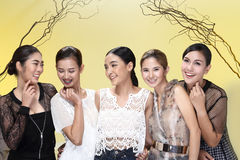 Group of Five Asian Women in casual style black white dress, fas Stock Image