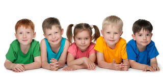 Group of five cheerful children Stock Images