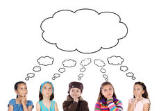Group of five children thinking Royalty Free Stock Images