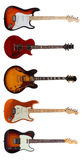 Group of Five Electric guitars on white background Royalty Free Stock Photos