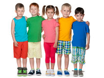 Group of five fashion children. Portrait of a group of five fashion children on the white background stock image