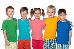 Group of five happy children Royalty Free Stock Photography