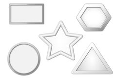 Group of five shapes. Group of five basic shapes about rectangle pentagon star circular triangle stock illustration