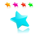 Stars. Group of five stars, 3D, different flowers Royalty Free Stock Image