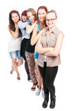 Group of five teen girls smiling Royalty Free Stock Photos
