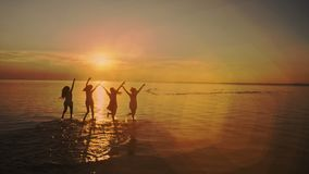 Group of Five Teenage Girls Run Into The Water, Celebrate On The Beach At Sunset. Beach party. Sun flare. Slow motion. Group of Five Teenage Girls Run Into The stock video