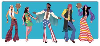 Group of five wearing hippie clothes of the 60s and 70s dancing. Vector Illustration stock illustration