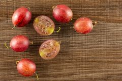Fresh raw red gooseberry on brown wood. Group of five whole two halves of fresh red gooseberry hinnomaki variety flatlay on brown wood Stock Images