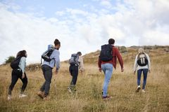 A group of five young adult friends hiking across a field towards the summit, back view royalty free stock image