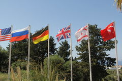 GROUP OF FLAG POLES Royalty Free Stock Image