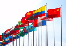 Group of flags. Against blue sky Stock Photo