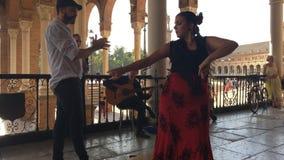 Group of flamenco dancers. SEVILLE, SPAIN - CIRCA OCTOBER 2017: Group of flamenco dancers in Plaza de Espana in Seville, Spain stock video