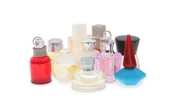 Group of flasks  with perfume Stock Photos