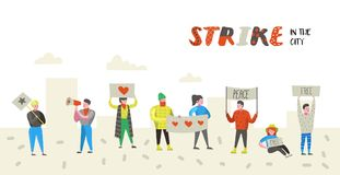 Group of Flat Angry People Protesting at Strike. Characters Picketing Against Something with Banners and Placards. Demonstration, Protest, Picket. Vector royalty free illustration