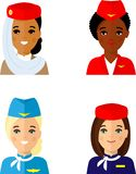 Group of flat cute cartoon avatars air hostess isolated on white background. Set of different african american, european, arab avatar stewardess in colorful stock illustration