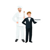 Group of flat people, restaurant worker team, vector Royalty Free Stock Image