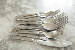 A group of flatware. With selective focus stock photos