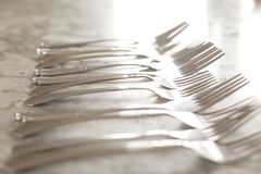 A group of flatware. A group of flatware with selective focus stock photos