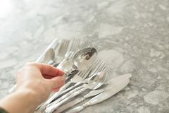 A group of flatware. With selective focus stock image