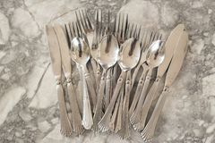 A group of flatware. With selective focus royalty free stock image