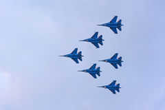Group flight of russian highest pilotage team Royalty Free Stock Image