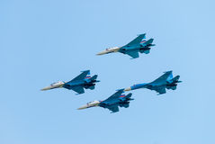 Group flight of russian pilotage team on SU-27 Stock Photo