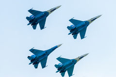Group flight of russian pilotage team on SU-27 Stock Photo